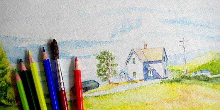 technique dessiner paysage aux crayons aquarelle