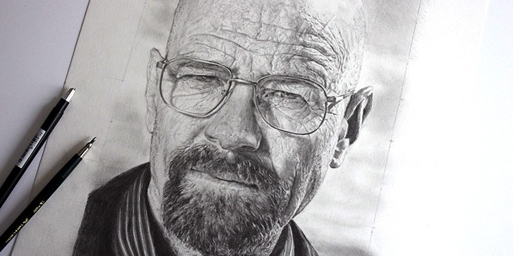 Dessiner le protrait de walter White avec une technique de dessin réaliste
