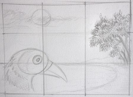 faire un dessin équilibré avec la règle des tiers