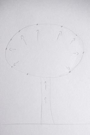 technique de dessin pour dessiner un arbre schématisé