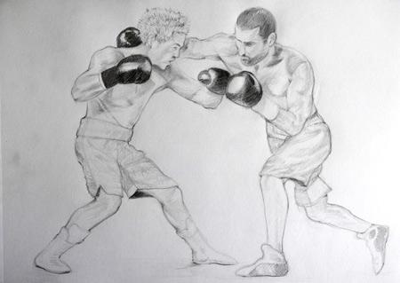 dessiner deux boxeurs en mouvement