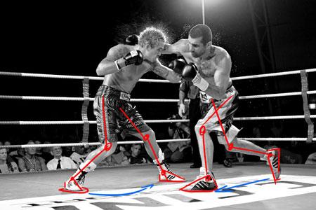 méthode pour dessiner les jambes d'un boxeur en mouvement