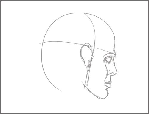 dessiner une tete d'humain de dos