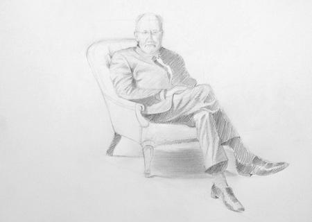 technique pour dessiner un personnage assis dans un fauteuil pas à pas