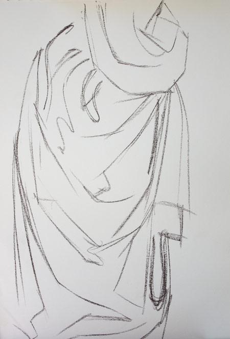apprendre à dessiner un drapé en commençant par le croquis