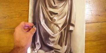 cours pour apprendre à dessiner un drapé aux pastels secs en sept étapes