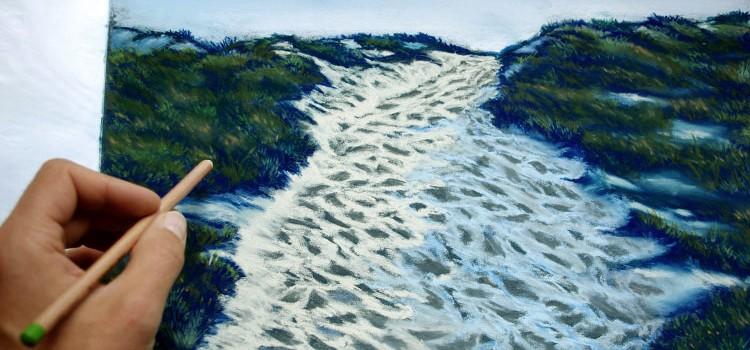 technique pour peindre un paysage de bord de mer au pastel et crayon pastel