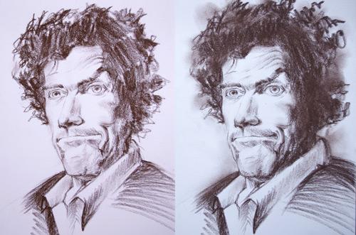 dessiner un portrait et trouver la technique pour bien le contraster