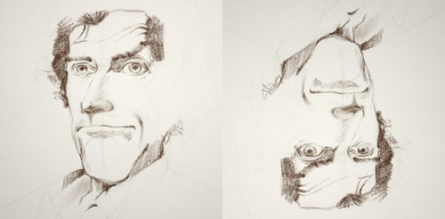 dessiner un portrait à l'envers pour mieux le réussir techniquement