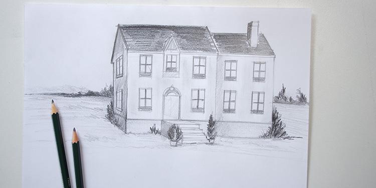 apprendre à dessiner une maison avec quelques bases de perspective