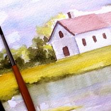 Voici un tutoriel simple pour vous apprendre la technique de peinture aquarelle en réalisant un paysage pas à pas
