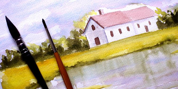 Cours D'Aquarelle Débutant : Peindre Un Paysage Simple | Apprendre À