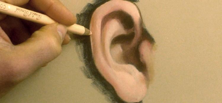 Technique de dessin et utilisation du crayon pastel pour peindre une oreille réaliste