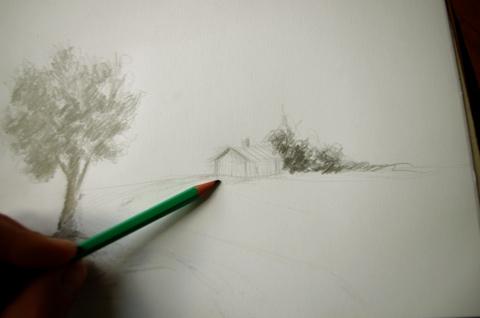 apprendre à dessiner un arbre et une maison en quelques traits de crayon