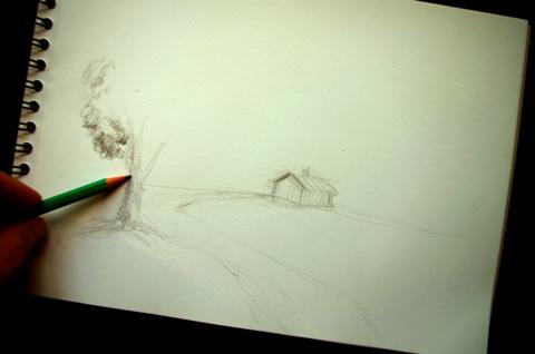 technique pour dessiner facilement un gros arbre dans un joli paysage