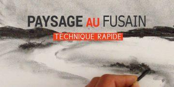 Une vidéo pour apprendre à dessiner un paysage au fusain très simplement et rapidement