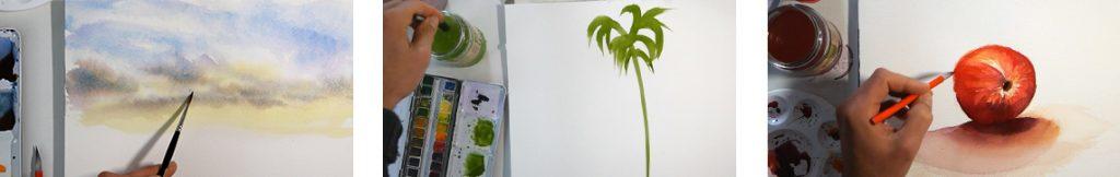 méthode débutant pour apprendre l'aquarelle en abordant différentes techniques