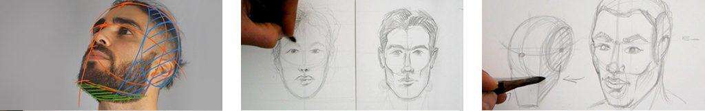 formation pour apprendre à bien structurer et dessiner un visage d'homme et de femme