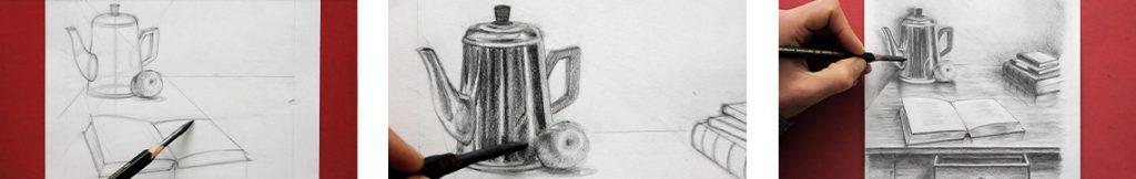 formation de dessin en perspective pour apprendre à dessiner des objets et les techniques de contraste