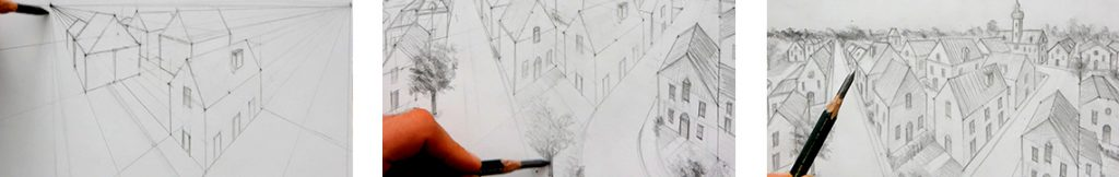 cours de dessin pour apprendre à dessiner un village en perspective pas à pas simplement