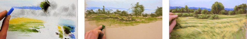 méthode pour apprendre à peindre un paysage simple au pastel sec avec cette formation complète pour débutants