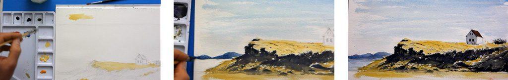 cours d'aquarelle complet pour peindre un paysage facilement