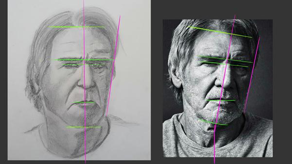 Bien dessiner un visage humain bien proportionné technique simple.