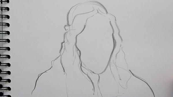 technique et exercice pour dessiner les contours d'un visage et pratiquer le dessin librement