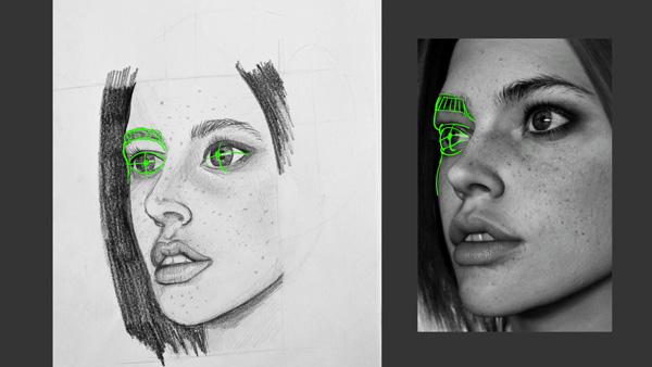 erreur de regard et proportion dans un dessin de portrait