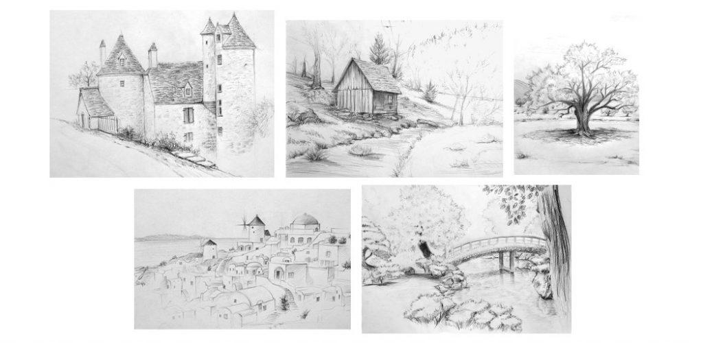 apprenez à dessiner des paysages sur le vif avec cette série de cours de dessin en ligne
