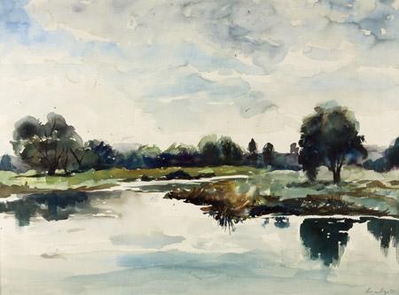 paysage fait par le grand peintre aquarelliste Adrew Wyeth